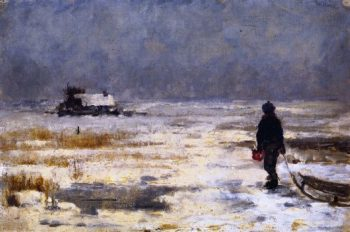 Boy with Sled in a Winter Landscape | Franz Marc | oil painting