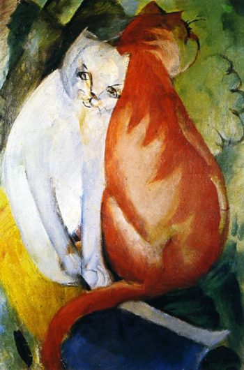Cats Red and White | Franz Marc | oil painting