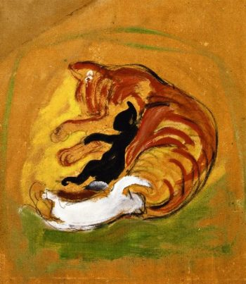 Cat with Kittens | Franz Marc | oil painting