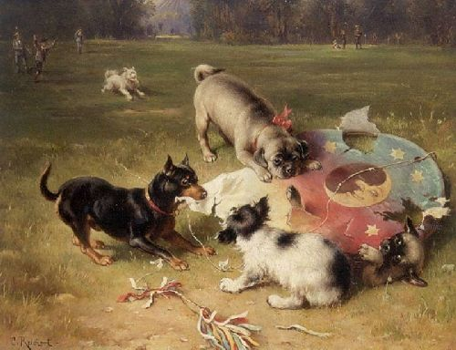Fighting With the Kite | Carl Reichert | oil painting