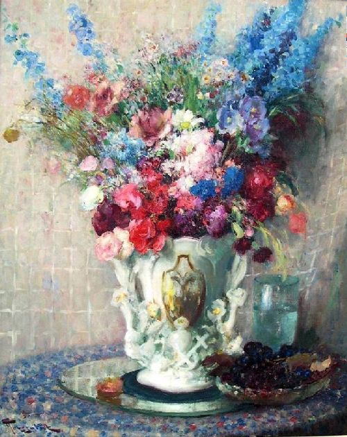 Bouquet Of Flowers In White Porcelain Vase Painting Fernand