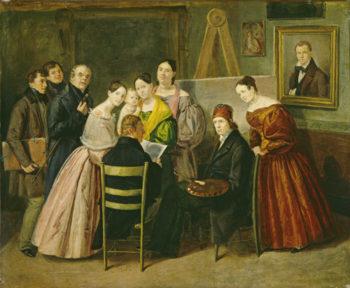 A Painter and Visitors in a Studio