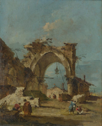 A Caprice with a Ruined Arch | Francesco Guardi | oil painting
