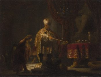 Daniel and Cyrus Before the Idol Bel   Rembrandt   oil painting
