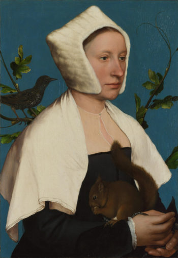 A Lady with a Squirrel and a Starling (Anne Lovell) | Hans Holbein the Younger | oil painting