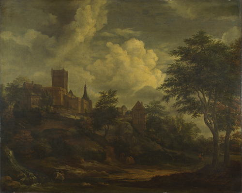 A Castle on a Hill by a River | Imitator of Jacob van Ruisdael | oil painting