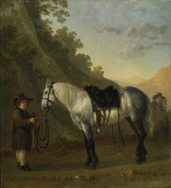 A Boy holding a Grey Horse | Abraham van Calraet | oil painting