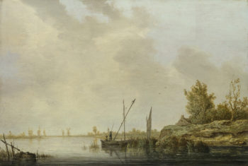 A River Scene with Distant Windmills | Aelbert Cuyp | oil painting