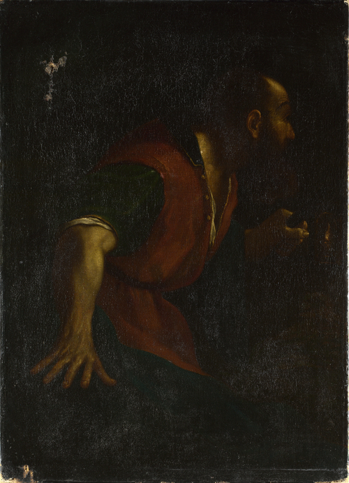 A Bearded Man holding a Lamp | After Guercino | oil painting