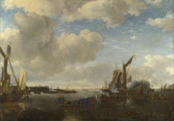 A River Scene with a Dutch Yacht firing a Salute | Jan van de Cappelle | oil painting