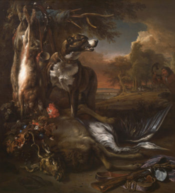 A Deerhound with Dead Game and Implements of the Chase | Jan Weenix | oil painting