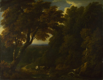 A Cowherd in a Woody Landscape | Jan-Baptist Huysmans | oil painting