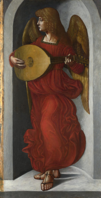 An Angel in Red with a Lute | Associate of Leonardo da Vinci | oil painting