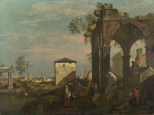 A Caprice Landscape with Ruins | Style of Bernardo Bellotto | oil painting