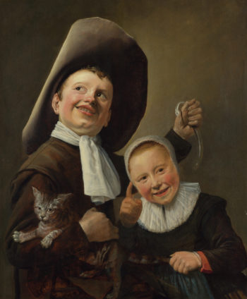 A Boy and a Girl with a Cat and an Eel | Judith Leyster | oil painting
