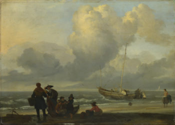 A Beach Scene with Fishermen | Ludolf Bakhuizen | oil painting