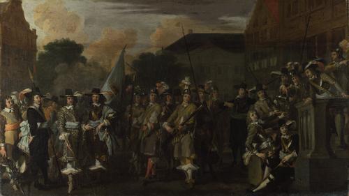 A Company of Amsterdam Militiamen | Dutch | oil painting