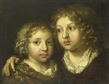 A daughter and a son (Constantine?) Of the painter. 1661 - 1684 | Caspar Netscher | oil painting