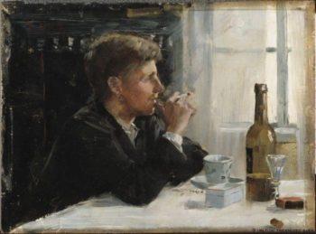 Man Seated at a Table | Elin Kleopatra Danielson Gambogi | oil painting