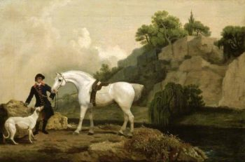 A Grey Hunter with a Groom and a Greyhound at Cheswell Crags | George Stubbs | oil painting