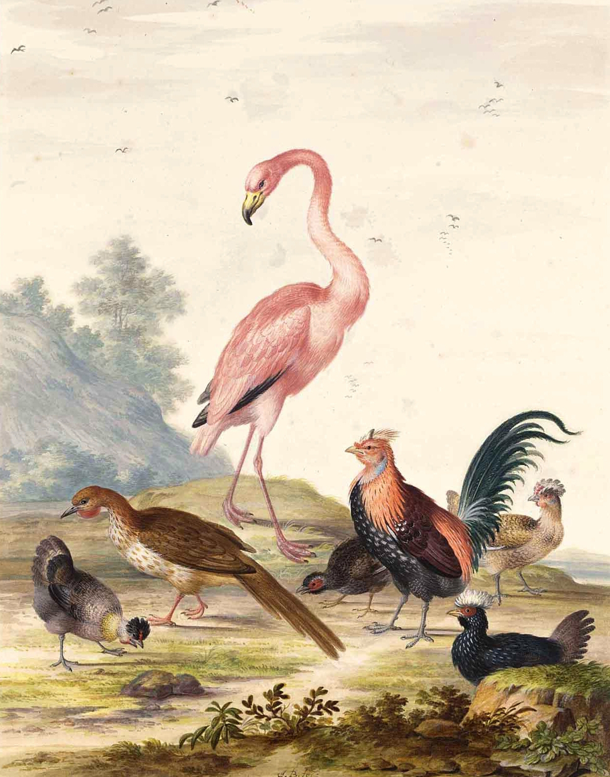 A Flamingo and Exotic Poultry in a Landscape | Johannes van Bronckhorst | oil painting