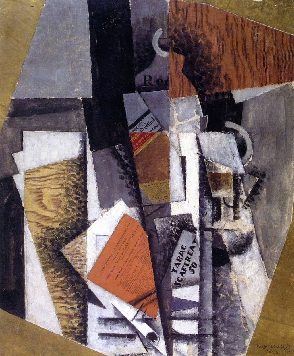 A Bottle of Whisky and a Packet of Scaferlati | Louis Marcoussis | oil painting