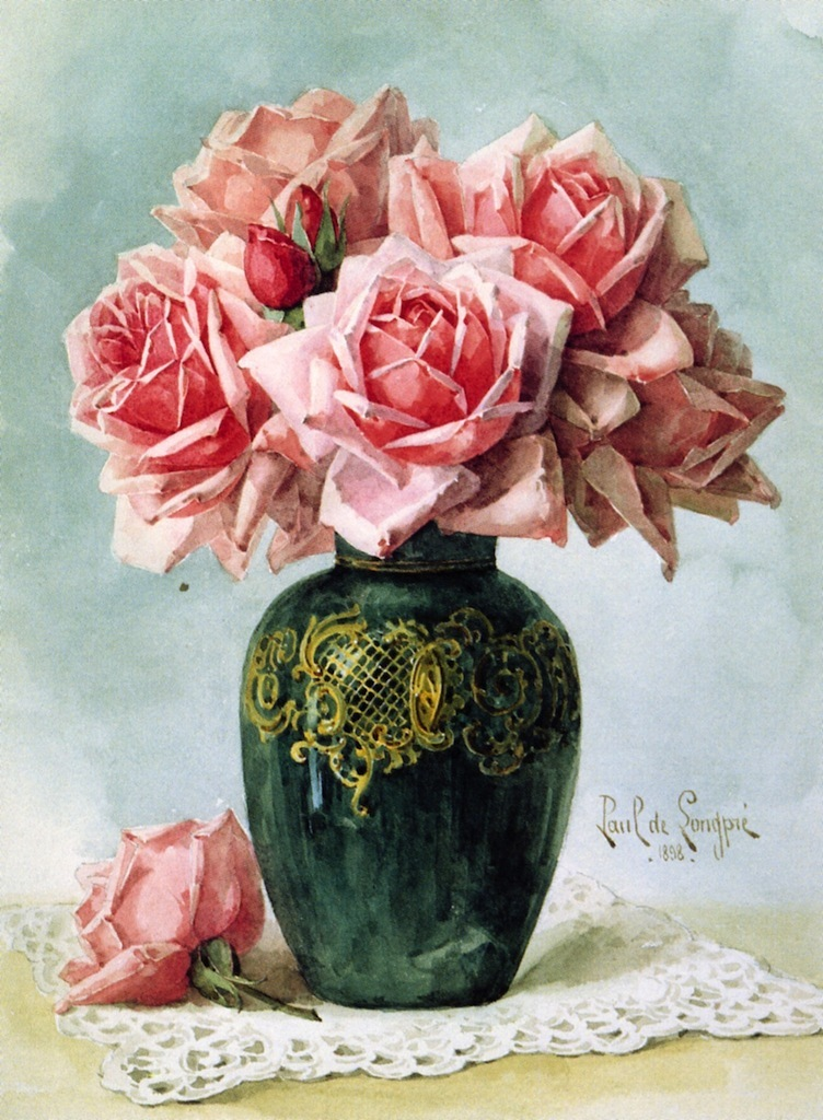 Vase With Pink Roses Painting Raoul De Longpre Oil Paintings