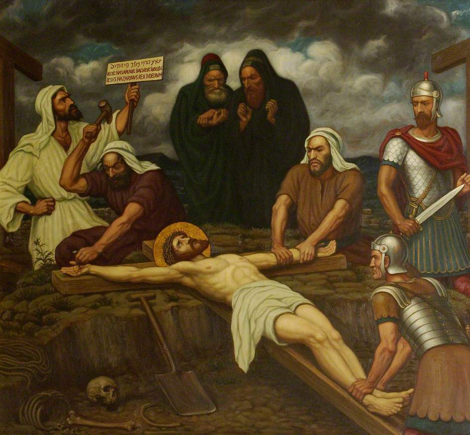 Jesus is Nailed to the Cross Painting | Edward Arthur Fellowes ...