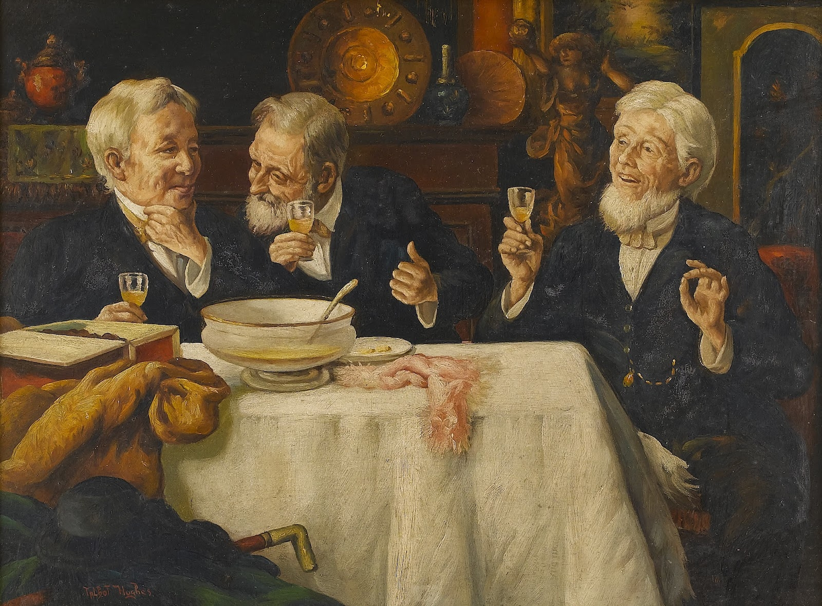 Superieur Three Men Dining | Talbot Hughes | Oil Painting