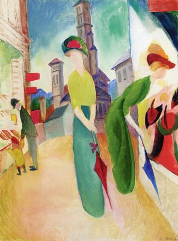Two Women in front of a Hat Shop | August Macke | oil painting