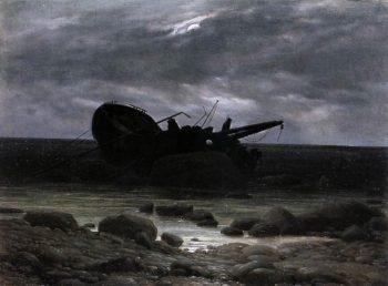 Wreck in the Moonlight (1835) | Caspar David Friedrich | oil painting