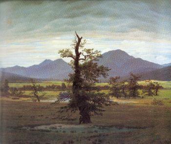 Village Landscape in Morning Light (The Lone Tree) (1822) | Caspar David Friedrich | oil painting