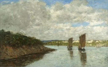 Bretagne Sailing Boats at the Bay 1872 | Eugene Boudin | oil painting
