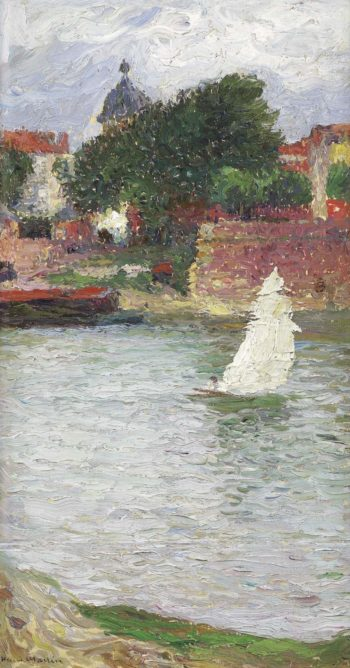A Sailer on the Garonne near the Church of Saint Pierre at Toulouse | Henri Martin | oil painting