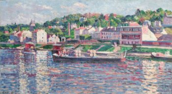 Bas Meudon the Barge on the River 1897 | Maximilien Luce | oil painting