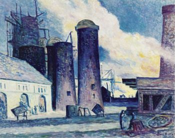 Blast Furnaces Construction at Charleroi 1907 | Maximilien Luce | oil painting