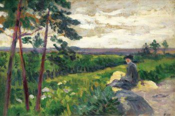 Landscape of Ile de France with a Figure | Maximilien Luce | oil painting