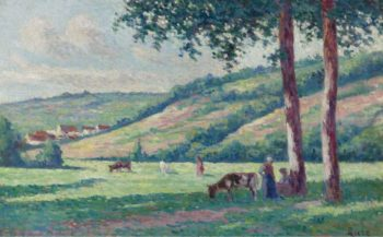 Landscape with Shepperds and Cows | Maximilien Luce | oil painting