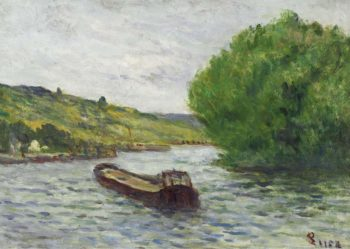 Rolleboise Barge on the Seine   Maximilien Luce   oil painting