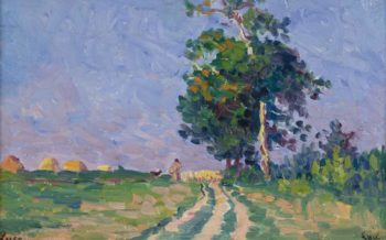 Shepherd with Flack on the Road in the Outskirts of Moulineaux 1905 | Maximilien Luce | oil painting