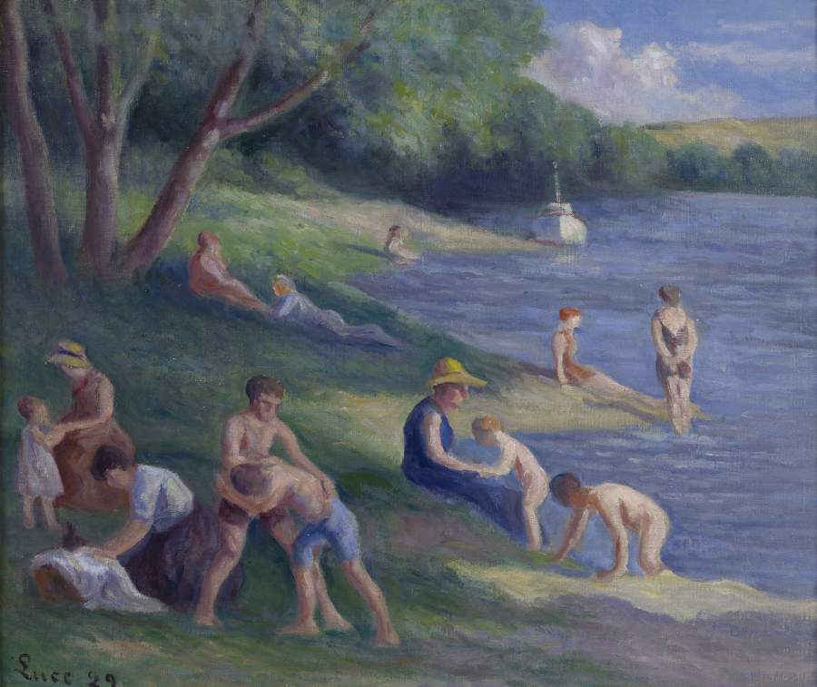 The Beach at Mericourt 1929 | Maximilien Luce | oil painting