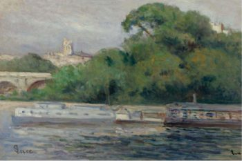 The Boats in Front of Trees and Bridge | Maximilien Luce | oil painting