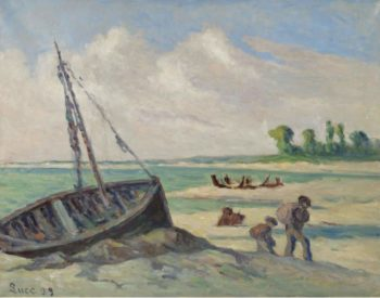 The Outskirts of treport the Barque on the Sand 1929 | Maximilien Luce | oil painting