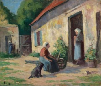 The Yard at Rolleboise | Maximilien Luce | oil painting