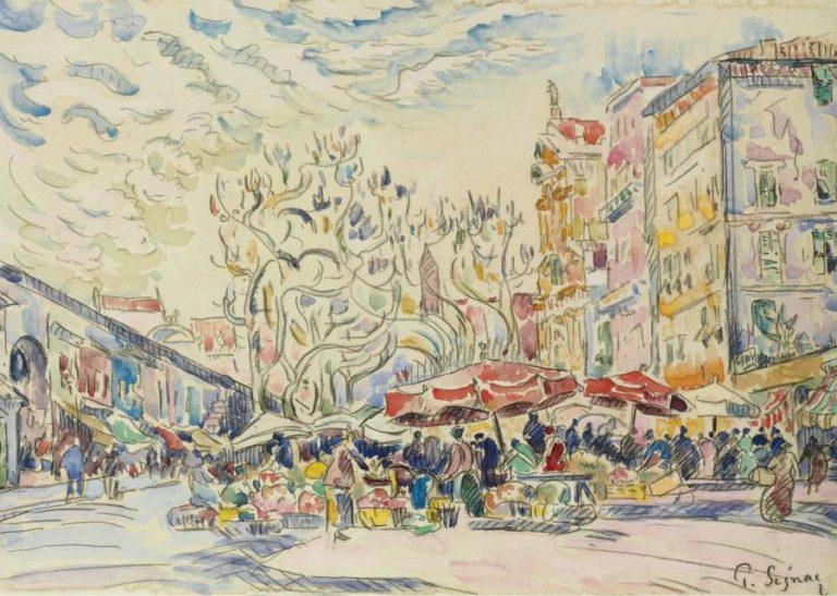 Nice the Courts of Saleya   Paul Signac   oil painting