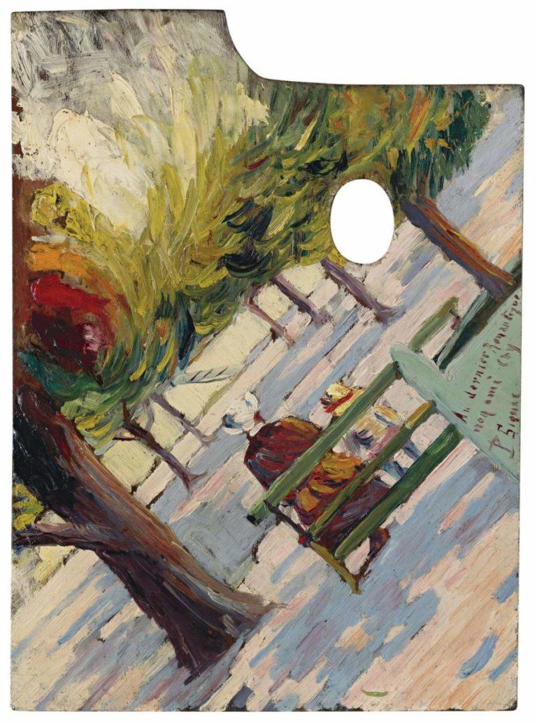 Palette Public Garden 1882 83   Paul Signac   oil painting