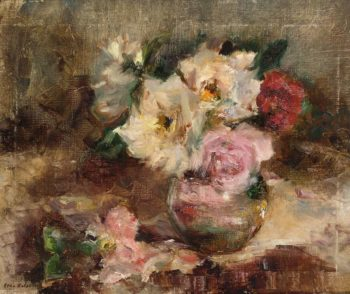 A Flowers Still Life with Roses in a Glass Vase | Coba Ritsema | oil painting