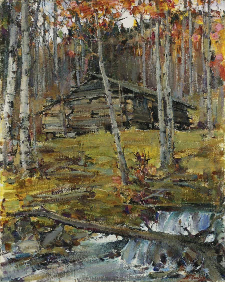 Autumn trees twinning painting nicolai fechin oil paintings for Nicolai fechin paintings for sale