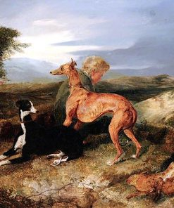A Boy and Two Greyhounds Resting | Sir Edwin Landseer | oil painting
