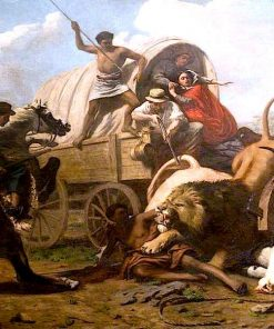 A Bullock Train Attacked by a Lion | Sir Edwin Landseer | oil painting